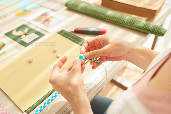 Woman Wrapped up in Scrapbooking - Stock Photo - Images