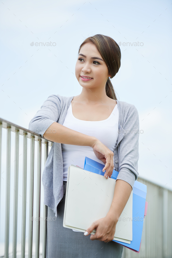 Pretty young business lady - Stock Photo - Images