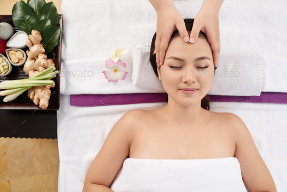 Professional head massage - Stock Photo - Images