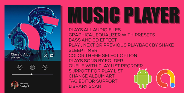 Music Player   Offline Music Player App   Android Full Application with documentation   Admob Ads