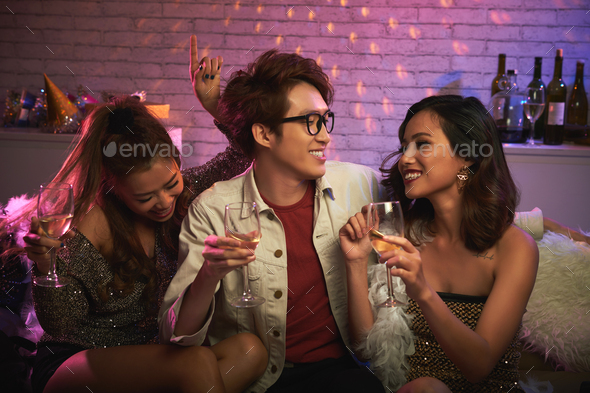 Enjoying Night with Friends - Stock Photo - Images