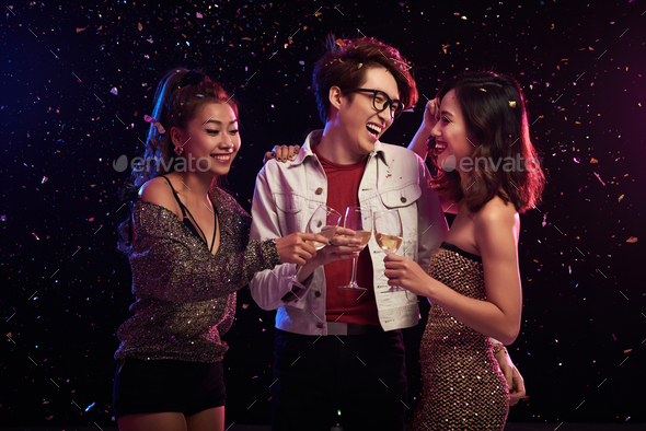 Celebrating New Year with Friends - Stock Photo - Images