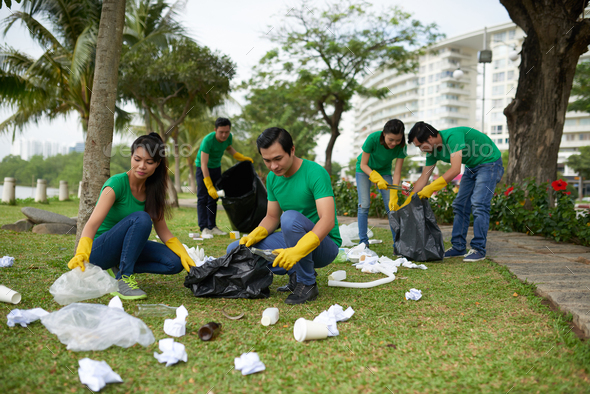 Cleaning park - Stock Photo - Images
