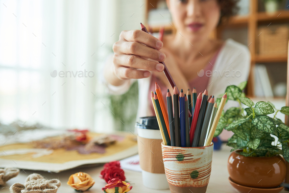 Creative Woman Focused on Work - Stock Photo - Images