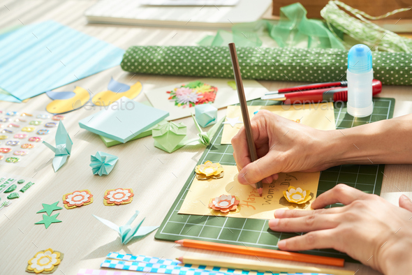 Making Handmade Present for Mom - Stock Photo - Images