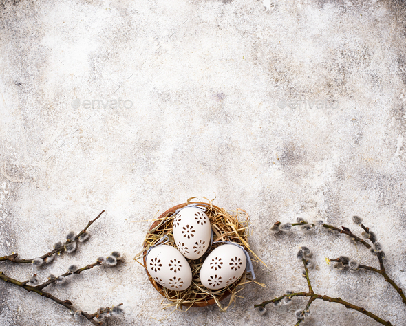 Easter background with willow and eggs - Stock Photo - Images