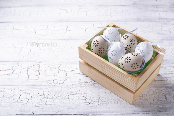 Easter background with decorative eggs - Stock Photo - Images