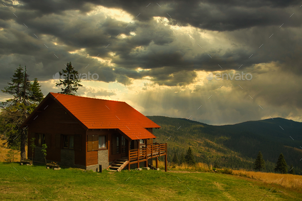 Cabin in Carpathian mountains - Stock Photo - Images