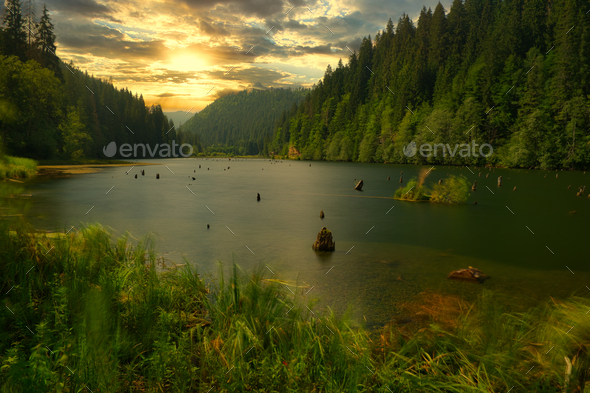 Red lake - Lacul Rosu - Stock Photo - Images