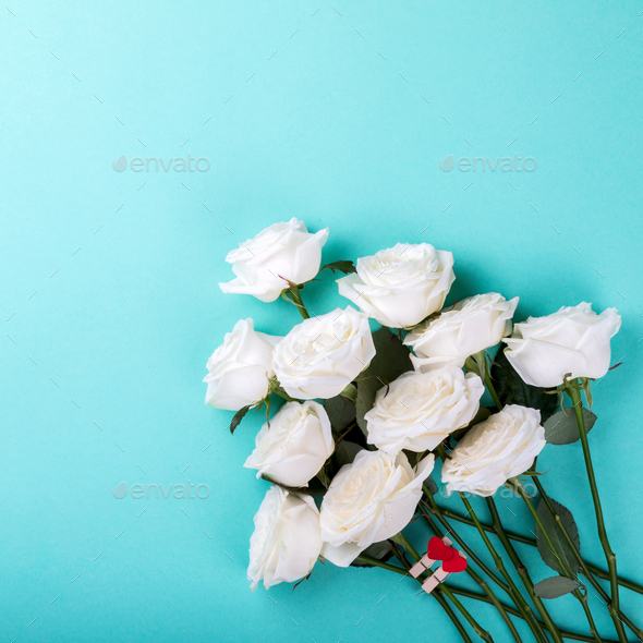 White Rose Bouquet.Holiday Day Valentine ,Birthday,Greeting Card,Gift. - Stock Photo - Images
