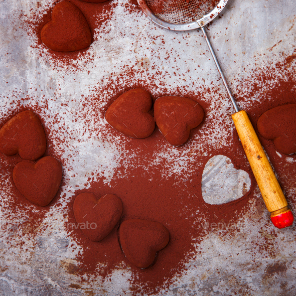 Chocolates in Heart-shape .Symbol Concept Holiday Valentine Day.Greeting Card,Gift. - Stock Photo - Images