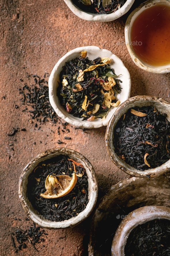 Variety of hot and dry tea - Stock Photo - Images