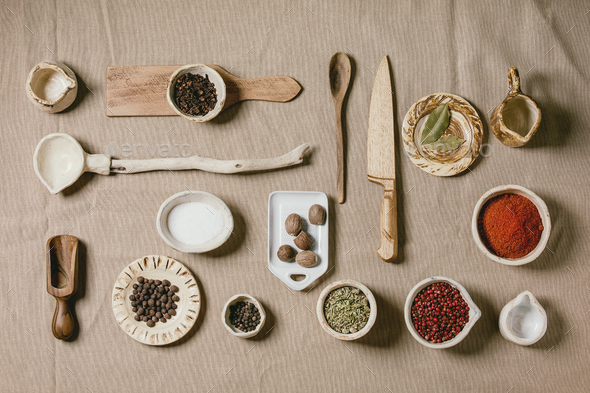 Variety of dishes and spices - Stock Photo - Images