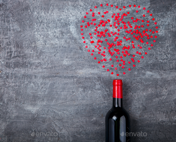 Small hearts ,shoots out of the bottle. Symbol of Love.Holiday Valentin Day. - Stock Photo - Images