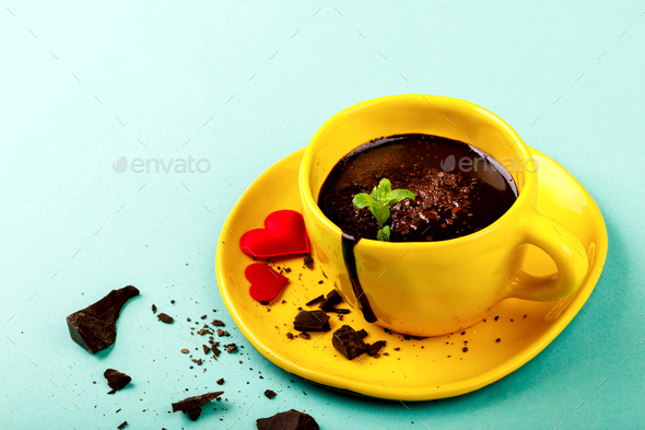 Hot Chocolate Festive Drink.Symbol Concept Holiday Valentine Day.Greeting Card,Gift. - Stock Photo - Images