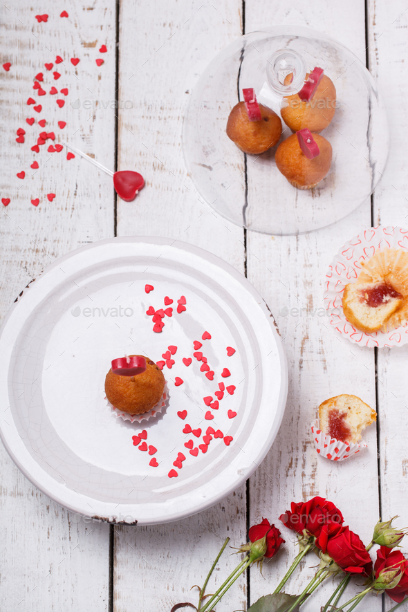 Mini muffins.Symbol Concept Holiday Valentine Day.Greeting Card,Gift. - Stock Photo - Images