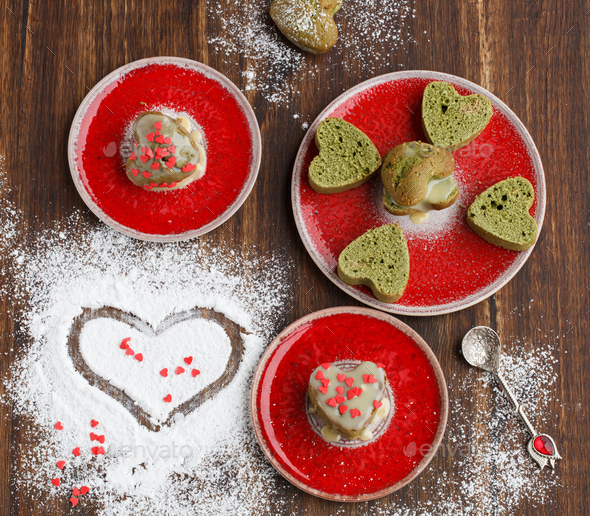 Muffins with tea match Symbol Concept Valentine Day.Greeting Card,Gift. - Stock Photo - Images
