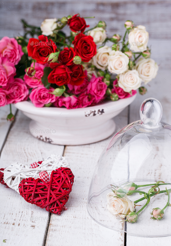 Bouquet of colorful little roses.Holiday Valentine Day. Concept of happiness. - Stock Photo - Images