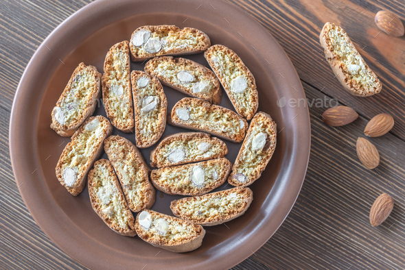 Cantuccini cookies on the plate - Stock Photo - Images