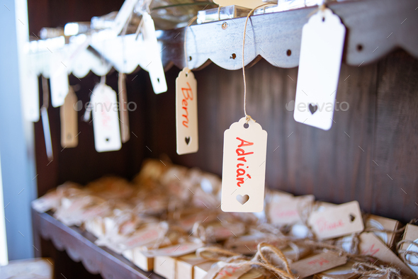 Gifts at a wedding with names on them - Stock Photo - Images