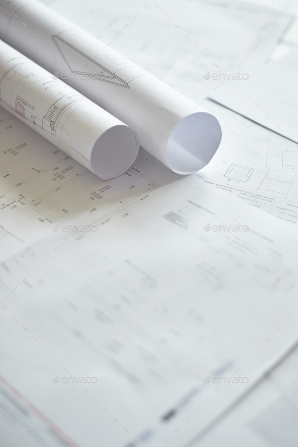 Detailed blueprints of a house - Stock Photo - Images