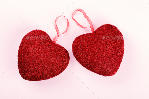 Valentine's day composition on pastel  background. - Stock Photo - Images