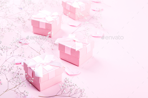 Valentines day composition on pastel background. - Stock Photo - Images