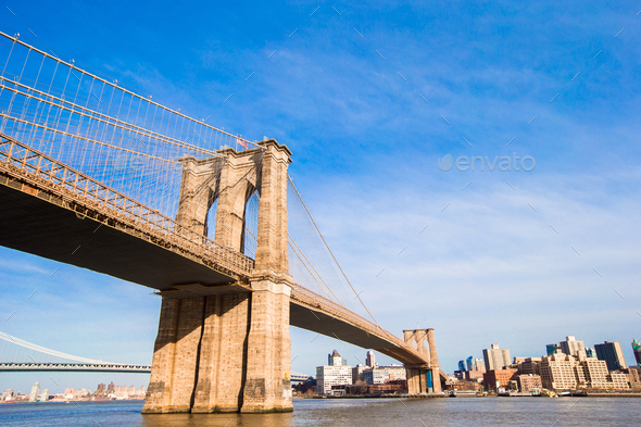 The Brooklyn bridge, New York City, USA - Stock Photo - Images