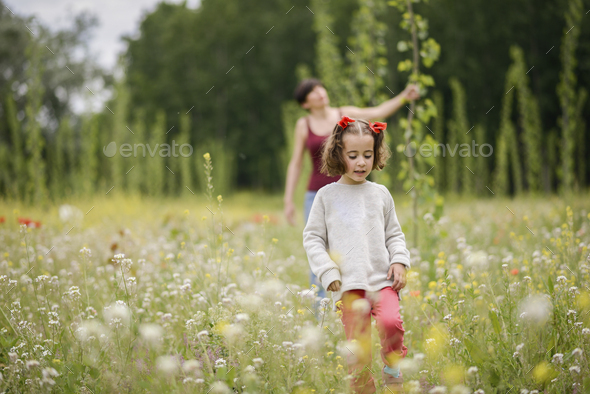 Mother with her little daughter in poppy field - Stock Photo - Images