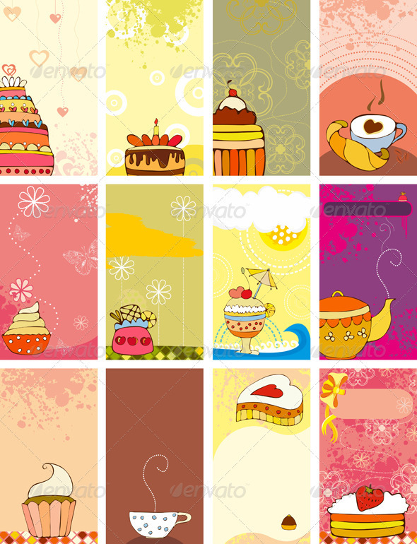 Card Set Sweet Love - Decorative Vectors