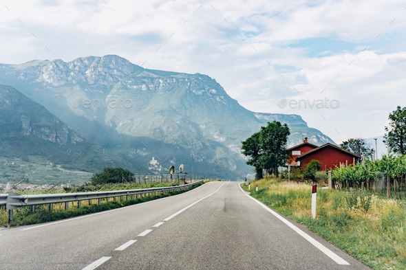 Scenic road in near the mountains. Picturesque view from the car window. - Stock Photo - Images