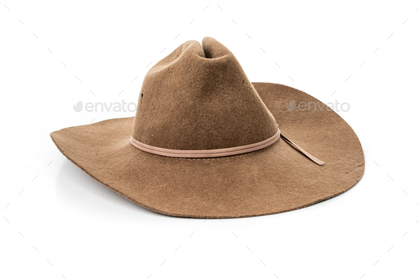 cowboy hat closeup isolated on a white background - Stock Photo - Images