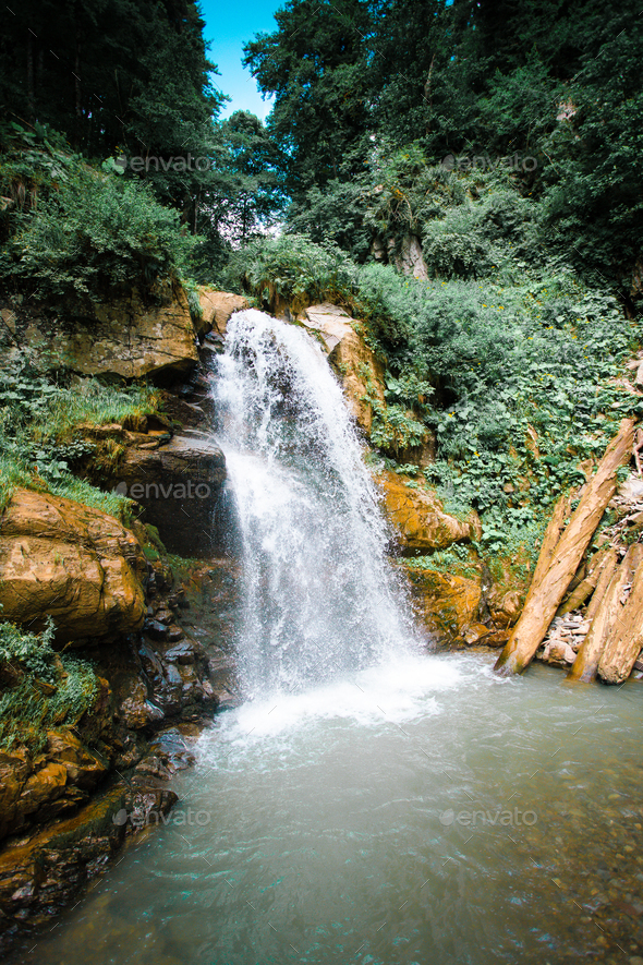 Mountain river waterfall landscape. Waterfall river - Stock Photo - Images