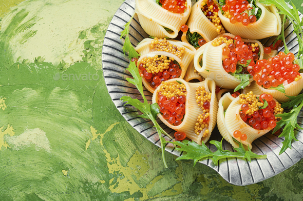 Red caviar filled pasta - Stock Photo - Images