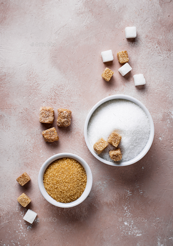 White and brown cane sugar - Stock Photo - Images