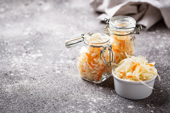 Homemade sauerkraut or pickled cabbage - Stock Photo - Images