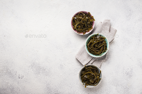 Seaweed salad with sesame seeds - Stock Photo - Images