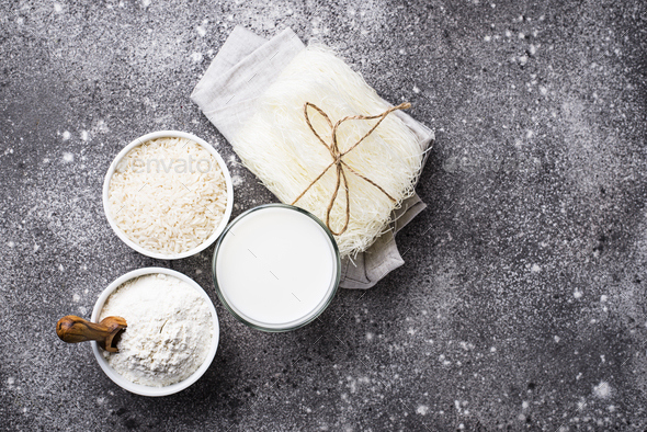 Gluten free rice flour, noodle and non-dairy milk - Stock Photo - Images