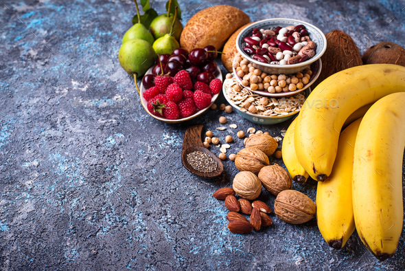 Products rich in fiber. Healthy diet food - Stock Photo - Images