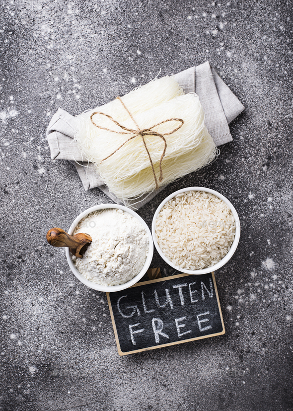 Gluten free rice flour, grain and noodle - Stock Photo - Images