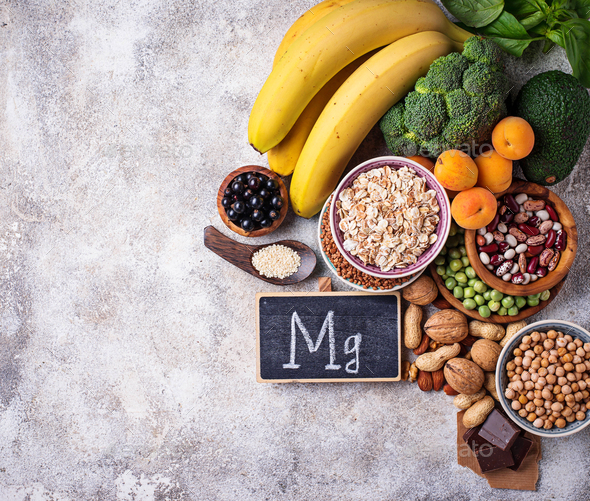 Assortment of food containing magnesium - Stock Photo - Images
