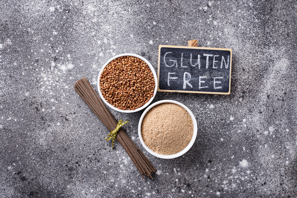 Gluten free buckwheat flour and soba noodle - Stock Photo - Images
