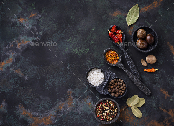 Various type of dry herbs and spices - Stock Photo - Images