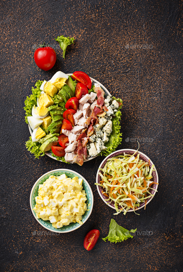 Set of traditional American salads - Stock Photo - Images