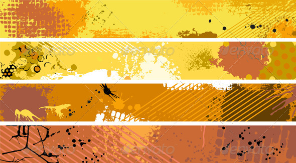 Grunge Orange Banner Set - Backgrounds Decorative
