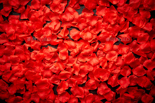 Background of beautiful red rose petals. Top view - Stock Photo - Images