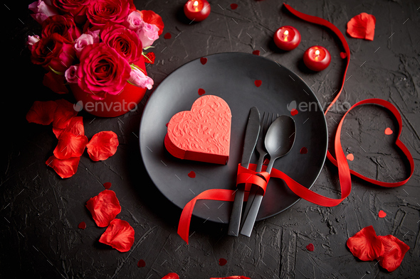 Valentines day, table setting and romantic dinner concept - Stock Photo - Images