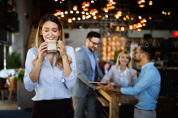 Business people coffee break meeting brainstorming chat happinness concept - Stock Photo - Images
