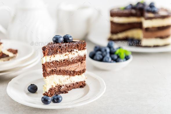 Dessert Menu Belgian Chocolate Layered Gateau - Stock Photo - Images