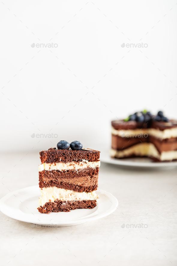 Dessert Menu Belgian Chocolate Layered Gateau - Stock Photo - Images